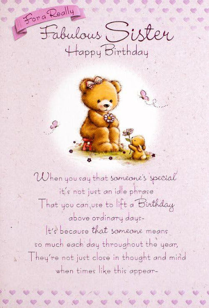 For A Really Fabulous Sister Birthday Card 155 x 230