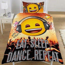 Emoji Eat Sleep Dance Reversible Single Duvet Set