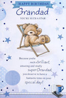 Teddy In Deckchair Grandad Birthday Card 155 x 230