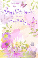 Flowers & Butterflies Daughter in Law Birthday Card 155 x 230