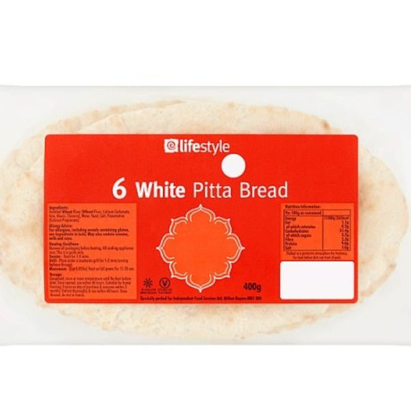 Lifestyle White Pitta Bread 6 Pack 420gm
