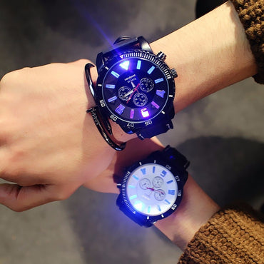 Fashion Men Watches 7 Color lights Led Glow Watch Men Sports