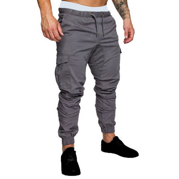 Joggers Pants Solid Color Men Cotton Elastic Long Trousers