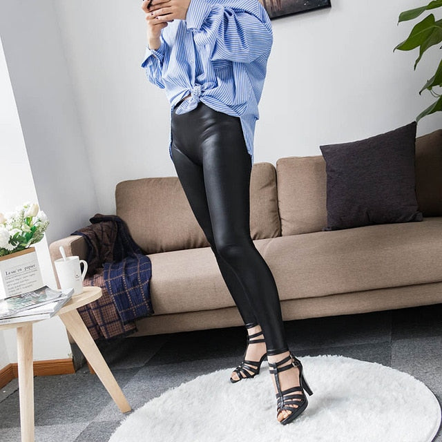 High Waist Stretch Leggings | High Waist Leather Leggings | Sexy Leggings| Fashion Sexy Leggings
