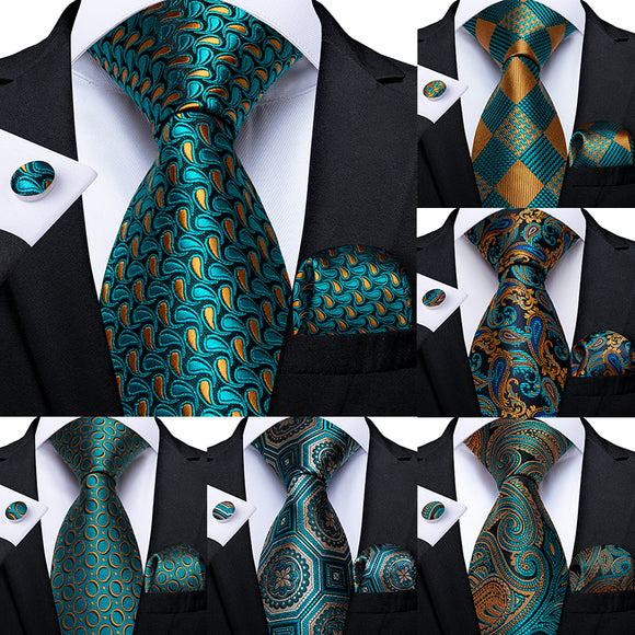 Men Tie Teal Green Paisley Striped Novelty Design