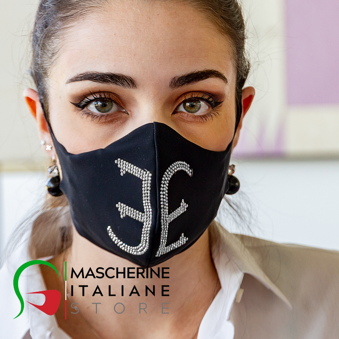 Mask machine) with filter interchangeable EVENING SILVER/BLACK with logo FABI rhinestone transparent or black - Line Fashion by FABI