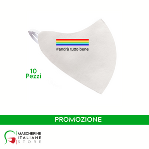 "PROMO ""Duck Mask"" airway protective mask #ANDRATUTTOBENE LOGO 1 SIDE 10 PIECES"