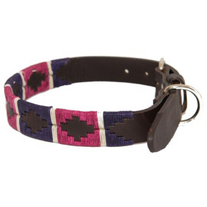 Polo Dog Collar - Purple/berry/white stripe
