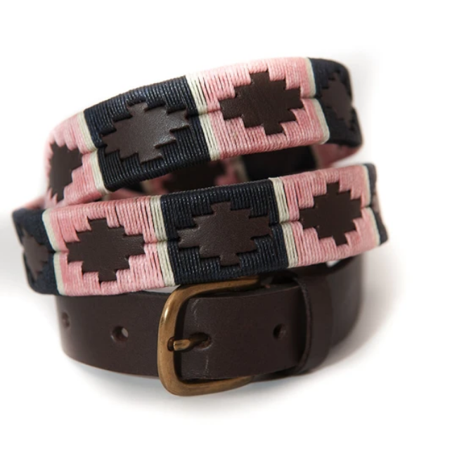 Narrow polo belt - Pink/navy/white stripe