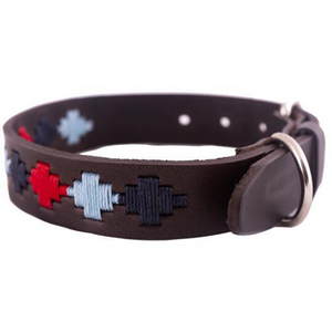 Polo Dog Collar - Pampa cross - Navy/pale blue/red