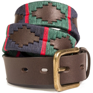 Polo Belt - Navy/dark green/red stripe