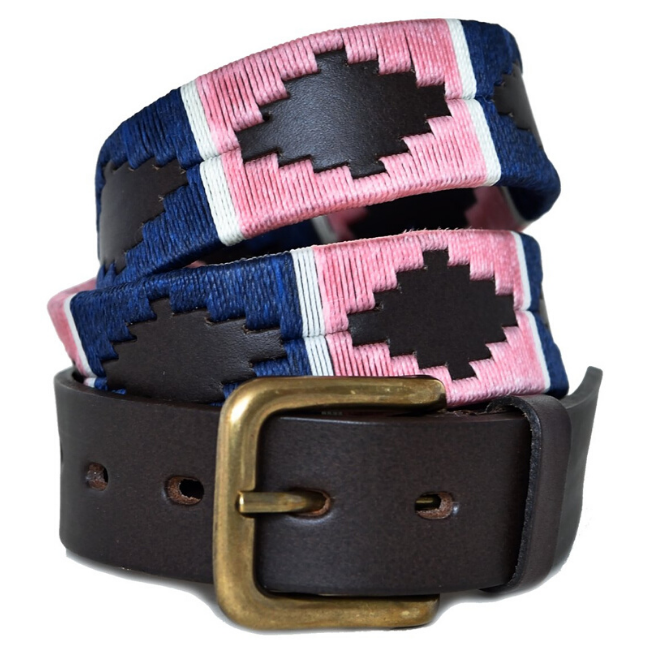 Polo belt - Pink/navy/white stripe