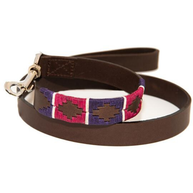 Polo Dog Lead - Purple/berry/white stripe