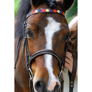 Brown Leather Browband - Red/navy/cream