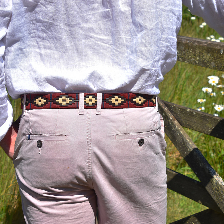 Polo Belt - Burgundy/cream/navy stripe