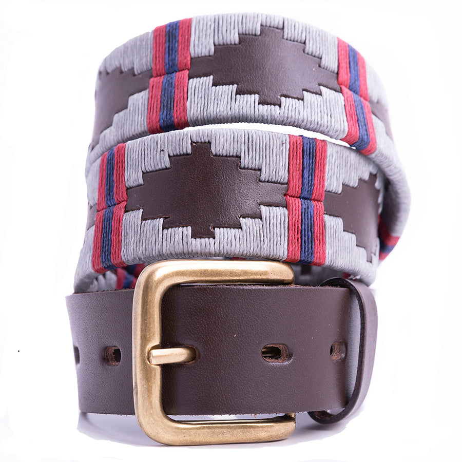 Polo Belt - Silver grey double stripe