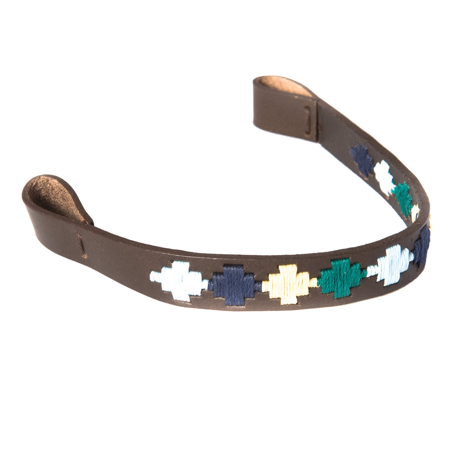 Brown Leather Browband - Green/pale blue/navy/cream