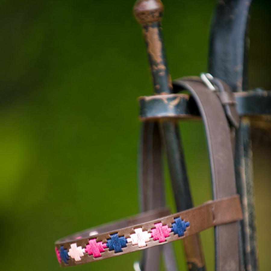 Brown Leather Browband - Berry/navy/pink