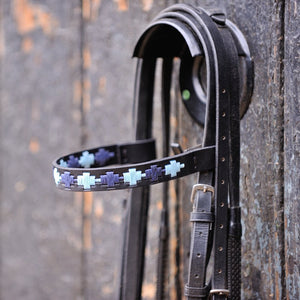 Black Leather  Browband - Pale blue/navy