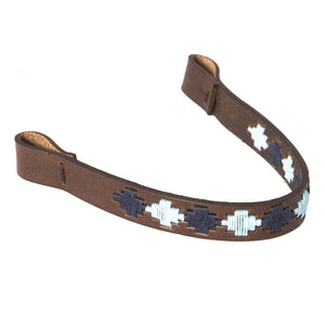 Brown Leather Browband - Pale blue/navy