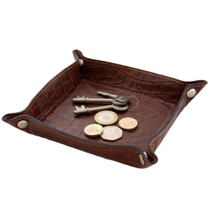 Coin Tray - Brown croc