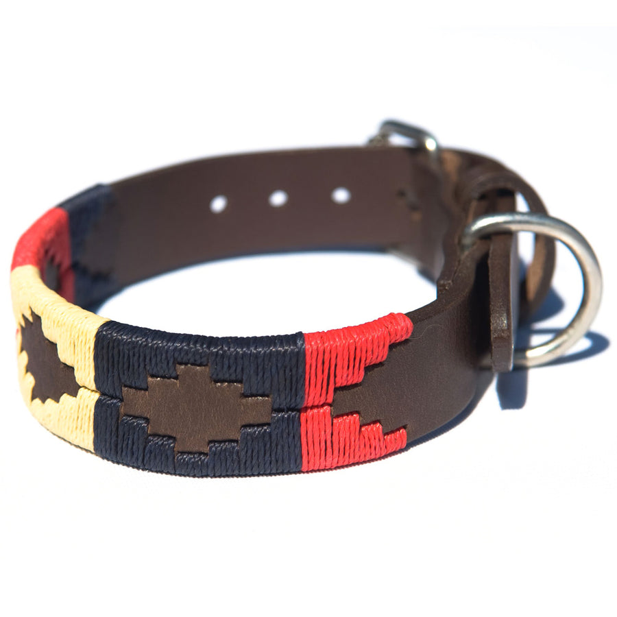 Polo Dog Collar - Navy/cream/red