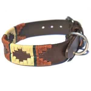 Polo Dog Collar - Copper/beige/green stripe