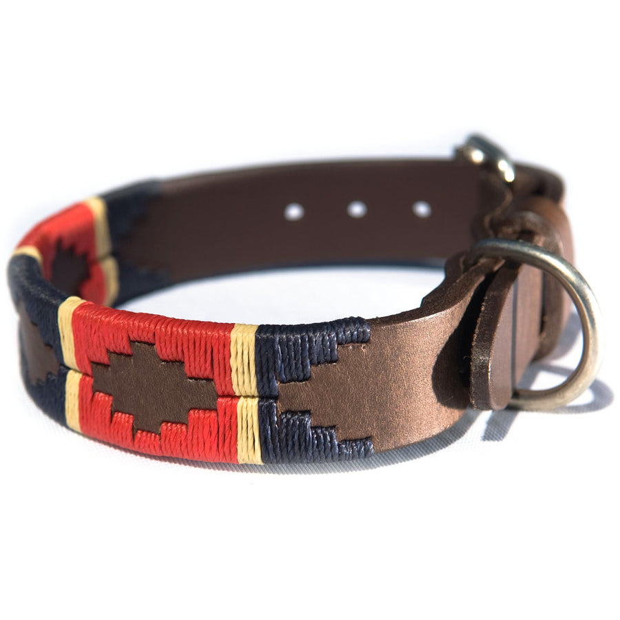 Polo Dog Collar - Red/navy/cream stripe