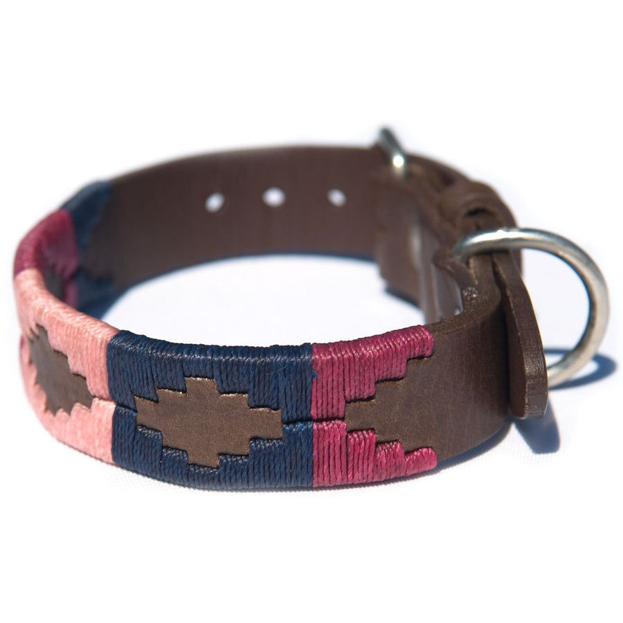 Polo Dog Collar - Berry/navy/pink