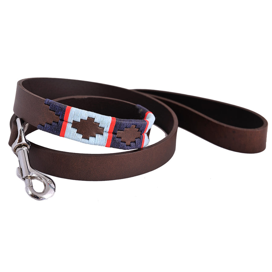 Polo Dog Lead - Navy/pale blue/red stripe