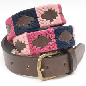 Narrow Polo Belt - Berry/Navy/Pink
