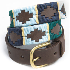 Narrow Polo belt - Green/pale blue/navy/cream stripe