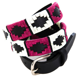 Narrow Polo belt - Berry/white/black stripe