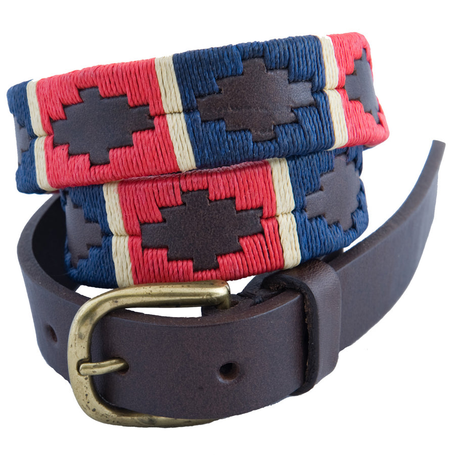 Narrow Polo belt - Red/navy/cream stripe