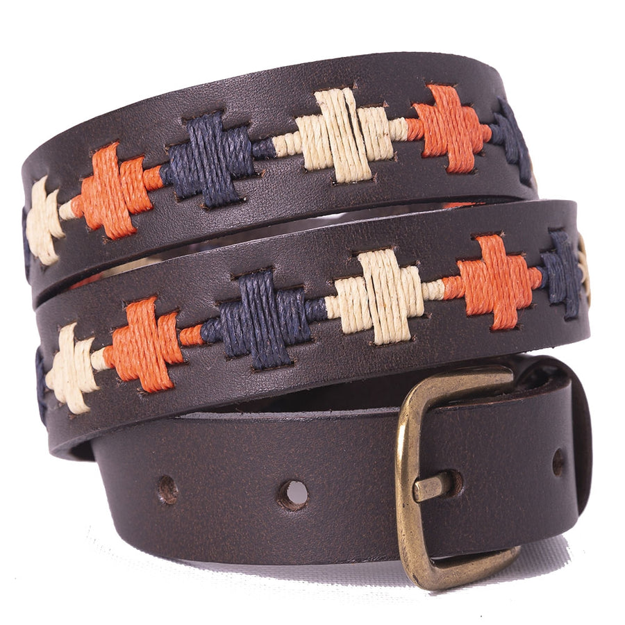 Narrow Polo belt - Pampa Cross - Orange/navy/cream