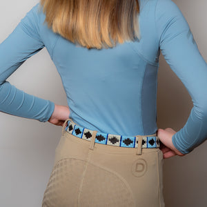 Narrow Polo belt - Pale blue/white/blue stripe