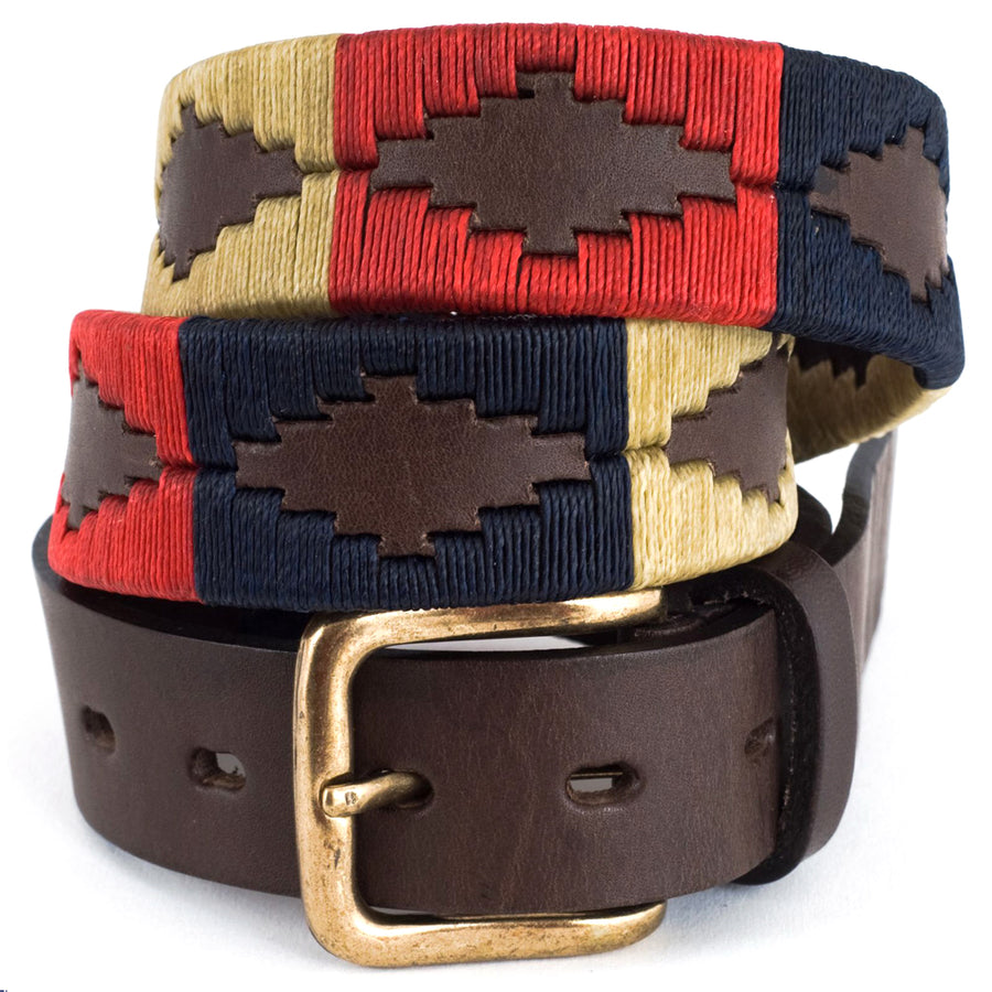 Polo belt - Navy/cream/red