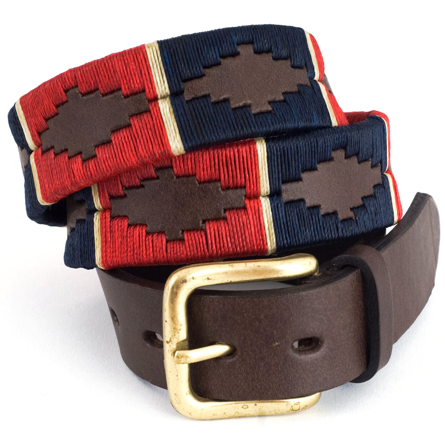 Polo belt - Red/navy/cream stripe