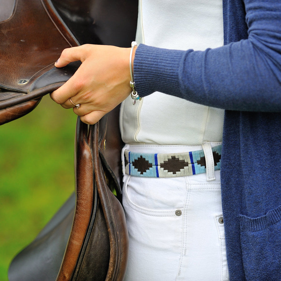 Polo belt - Pale blue/white/blue stripe