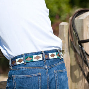 Polo belt - Green/pale blue/navy/cream stripe