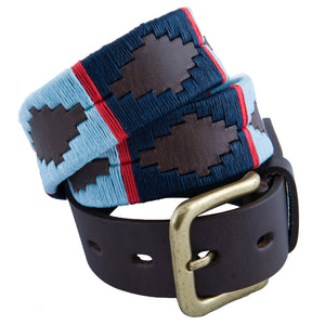 Polo Belt - Navy/pale blue/ red stripe