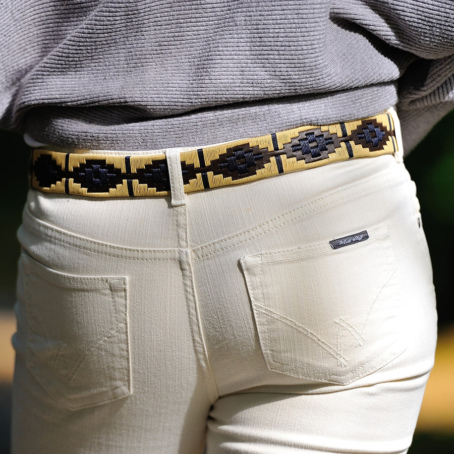 Polo Belt - Beige/navy stripe
