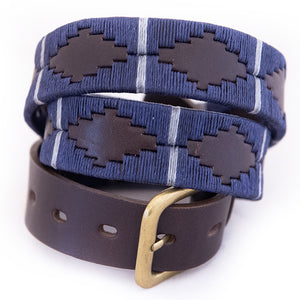 Polo belt - Navy/silver grey stripe