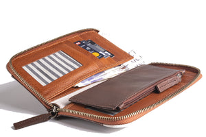 Tricolour Purse - Brown