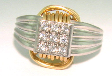 Two Tone Single Knot Ring with CZ stones