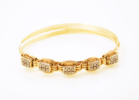Lightweight Bracelet 14KT Solid Gold 3-Strand with .90 Carat of Diamonds