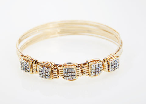 Lightweight Bracelet 14KT Solid Gold 5-strand with 1.25 Carats of Diamonds