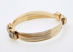 Lightweight Bracelet 14KT Solid Gold 5-strand with  One Carat of Diamonds