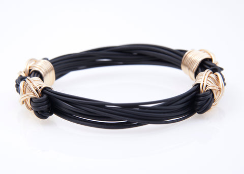 Lightweight Synthetic Elephant Hair Bracelet with 14KT Gold Fill X-knots