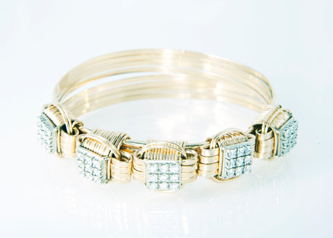 Classic Bracelet 14KT Solid Gold 4-strand with 2.7 Carats of Diamonds - Small